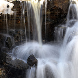 Winter Falls by Scott Block - Nature Up Close Water ( water, moving water, winter, nature, waterfall, motion )