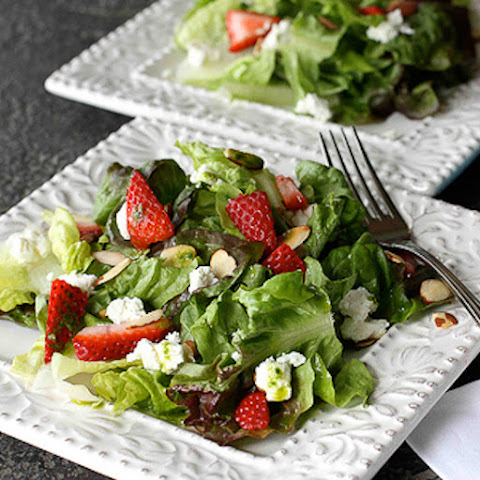 Strawberry & Goat Cheese Green Salad with Basil Vinaigrette