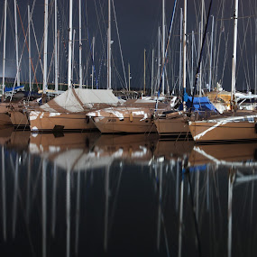 Sleeping Boats by Giancarlo Ferraro - Backgrounds Holiday ( sailing, nightshot, boats, marina )