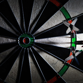 Side light only by Peter Salmon - Artistic Objects Other Objects ( green, three, board, light, darts )