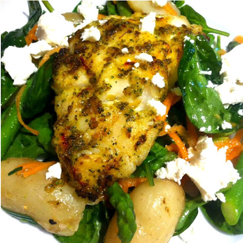 Chermoula Cod with Spinach Salad