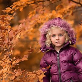 Playing with Colour by Daniel Venter - Babies & Children Child Portraits ( girl, purple, autumn leaves, portraits )