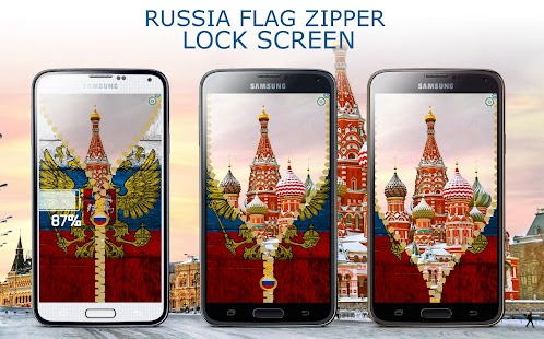 Russia Flag Zipper LockScreed - screenshot