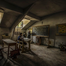 Back to old school days by Aitor Arana Arruti - Buildings & Architecture Decaying & Abandoned ( windows, desk, classroom, story, urbex, statue, school, nun, student, blackboard, maps, teacher, light, cross, abandoned )