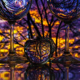 Fire in the Sky 2 by Lisa Hendrix - Artistic Objects Other Objects ( reflection, purple, colorful, bright, apple, colors, sunset, artistic, yellow, refraction, wine glasses )
