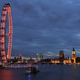 the magic Eye by Balan Gratian - City,  Street & Park  Vistas ( city landscape, london eye, london, magic eye, london blue )