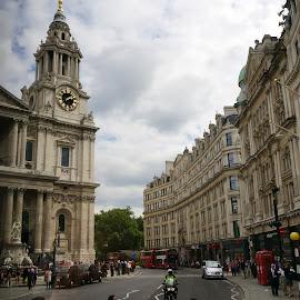 London Street Crossing by Dee Haun - City,  Street & Park  Street Scenes ( england, london, street, street crossing, 130814$0263rce1, street scene, zig zag lines, city )