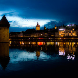 Lucerne at Night by Bharath Pasupuleti - City,  Street & Park  Neighborhoods ( swiss, tower, sunset, night, historic )