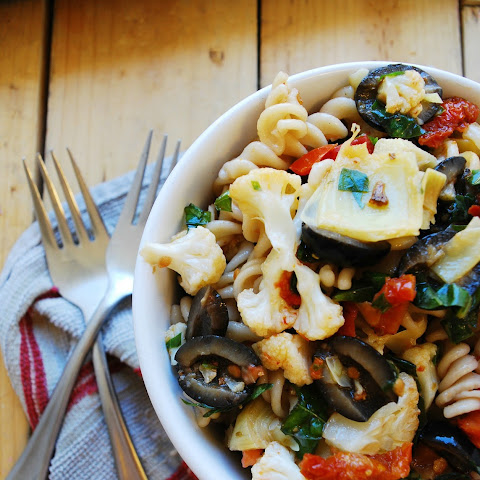 Roasted Cauliflower Pasta Salad (Gluten, dairy, egg, soy, peanut & tree nut free; top 8 free; vegan)