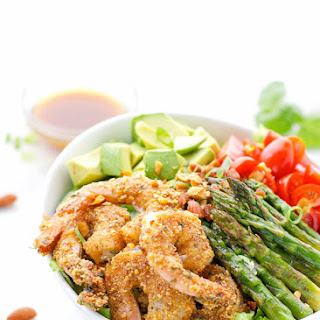 Sriracha Almond Crusted Shrimp Salad