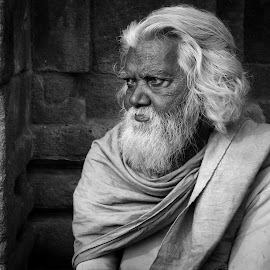 Portrait of a sadhu by Prasanta Das - People Portraits of Men ( mendicant, black and white, old man, porrait )