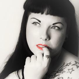 Tattoo Beauty by Vix Paine - People Body Art/Tattoos ( blackandwhite, nude, tattoos, red lips, body art, tattoo, girlswithink, bodyart )