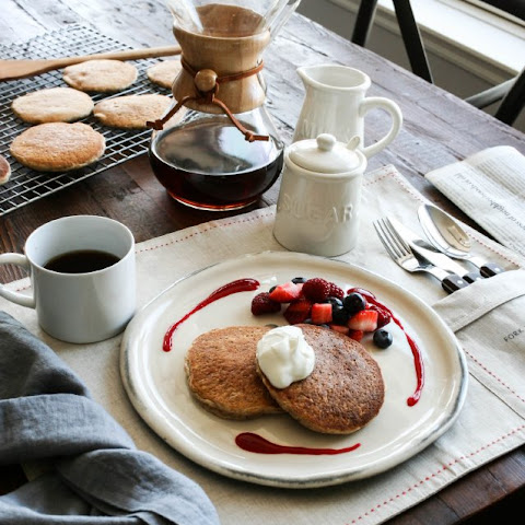 Almond Pancakes with Yogurt and Raspberry Coulis