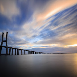 A dream by Abílio Neves - Buildings & Architecture Bridges & Suspended Structures ( clouds, water, sky, sunrise, bridge )