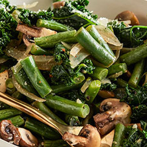 Spicy Parmesan Green Beans and Kale