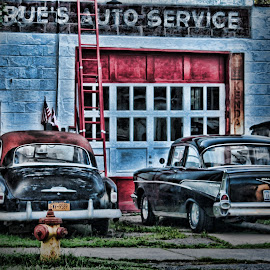 Old Time Pals by Kimmi Walrath Doerr - Digital Art Things ( history, red, hdr, cars, garage, transportation, vehicles, past, antique, black, classics )