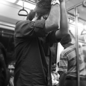 LIfe In A Tube by Tarun Jha - Instagram & Mobile iPhone ( iphoneography, indian street photography, metro, rail, train, black&white, streed candid, mobile photography, street photography, tube photography )