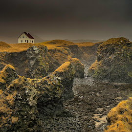 House with a View by Rashid Ramdan - Landscapes Travel ( sony, iceland, nature, grass, green, arnarstapi, seascape, seaside, house, travel, landscapes, photography )