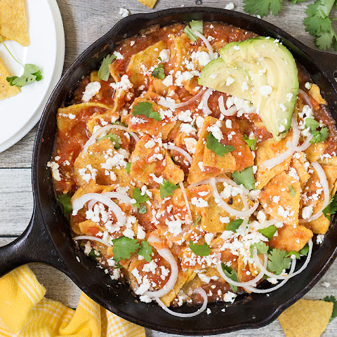 Traditional Mexican Chilaquiles Rojos