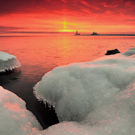 Wednesday Witness by Gregory Israelson - Landscapes Sunsets & Sunrises ( sun pillar, winter, lake superior, duluth mn, sunrise )