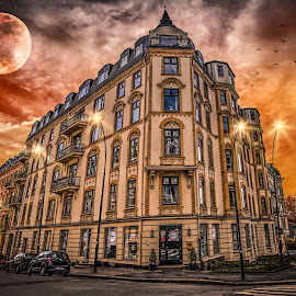 Oslo, Norway 051 by IP Maesstro - Buildings & Architecture Homes ( building, moon, hdr, street, architecture, birds, norway, ip maesstro, sunset, stars, oslo, sunrise, light )