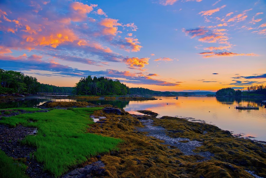 New Meadows River Sun Rise by Joe Fazio - Landscapes Sunsets & Sunrises ( maine, sunrise, sunset, beach, river,  )