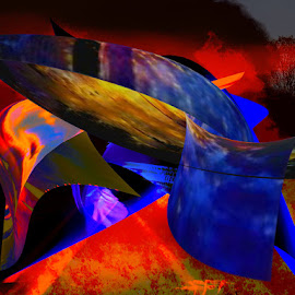 BLue FIre Bird by  Elizabeth Crall - Illustration Abstract & Patterns ( wall art, art, fine art, scenic, scenery, fire )