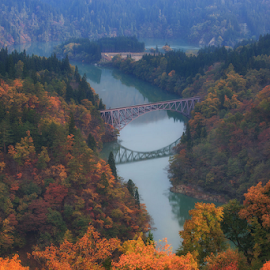 Autumn at Fukushima by Nyoman Sundra - Landscapes Travel ( japan, tadami bridge, travel, sunrise, landscape, fukushima,  )