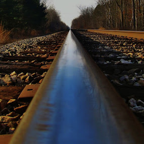 by Flora Ehrlich - Novices Only Abstract ( copy space, railroad, asbtract, forest, illusion, tracks, landscape, depth, michigan, new, railway, industrial, background, rail, train, trees, rocks )