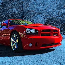 SRT by Jeffrey Lorber - Transportation Automobiles ( lorberphoto, @lorberphoto, dodge charger, rust 'n chrome, jeff lorber, dodge, srt, red dodge, jeffrey lorber, red car )