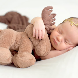 elk by Helena Lindgren - Babies & Children Babies ( girl, teddy bear, cute, newborn )