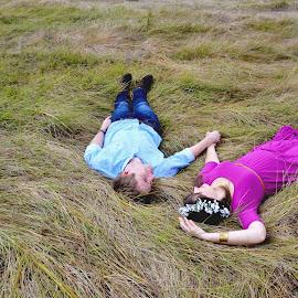 Twilight by Julene Muller - People Couples ( field, grass, dress, couple )