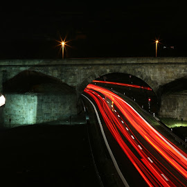 Rush in the Night by Bery Foto - Buildings & Architecture Bridges & Suspended Structures ( lights, neckar, traffic, rush, highway, cars, germany, long exposure, night, esslingen, bridge,  )