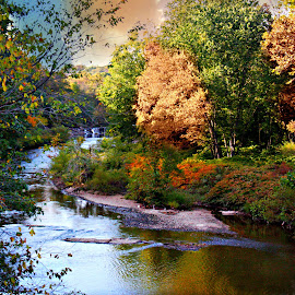 The Little waterfalls over the bridge by Valerie Stein - Landscapes Waterscapes ( autum, peacfull. valerie stein., waterscape, waterfall, landscape., relax, tranquil, relaxing, tranquility )