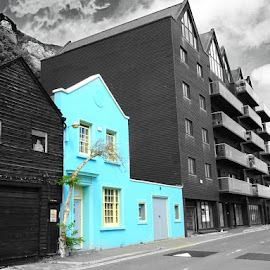 Turquoise house  by Becs Becs - Buildings & Architecture Homes ( building, turquoise, blue, black and white, house )
