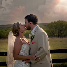 Breathless by Carole Brown - Wedding Bride & Groom ( countryside, kissing, blonde hair, wedding gown, beard, bride and groom, brown hair )
