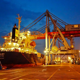 Lampung Port at Night by M Thantowi - Transportation Other