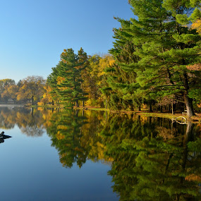 by Robert Coffey - Landscapes Waterscapes ( sky, green, fall, reflection, blue, trees, lake,  )