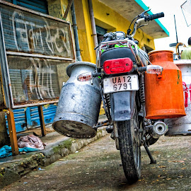 Milk Seller by Leo Rawat - City,  Street & Park  Street Scenes ( bike, milk, street, daily, street photography )