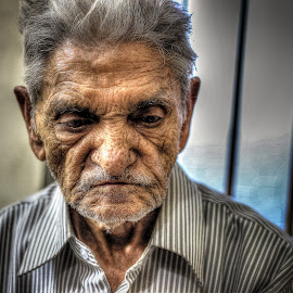 Deep Thought by Vikram Mehta - People Portraits of Men ( wrinkles, details, hdr, deep thinking, thought, elderly )