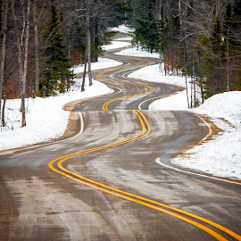 Twisted by Jebark Fineartphotography - Landscapes Travel ( twisted, winter, color, ice, snow, forest, road, curves )