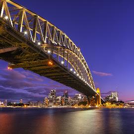 Sydney Habour Bridge by Glenn WS - Buildings & Architecture Bridges & Suspended Structures ( #cityscape, #bridge, #sydney, #citylights, #nightshots, #nightscape, #bridges, #lights )