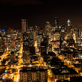 Seattle at night by Kyley Hansen - City,  Street & Park  Vistas ( lights, seattle, buildings, night, city )