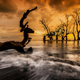 Sunset at Castle Beach by Fahriadi Yusuf Abdulfattah - Landscapes Sunsets & Sunrises ( afternoon, indonesia, sunset, sea, long exposure, beach, seascape, landscapes, photography )