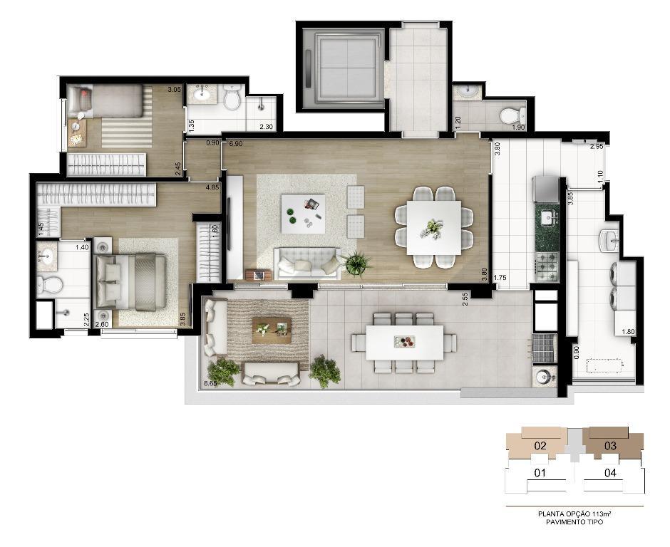 Planta Opção - 113 m²