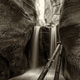 Kanarraville Falls by Gosha L - Black & White Landscapes ( utah, nature, waterfall,  )