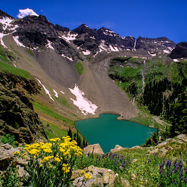 Blue Lake by Curtis Forrester - Landscapes Mountains & Hills ( water, wilderness area, wildflowers, blue lake, nature, mt. sneffels wilderness area, horizontal, colorado, lake, mountain(s), landscape, united states of america )