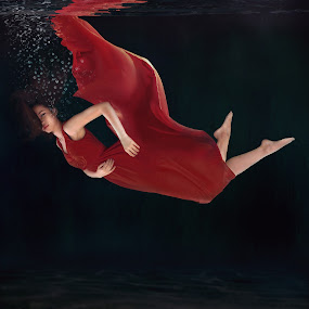 Drowning by Danny Tan - People Portraits of Women ( red, underwater, portrait, drown, asian )
