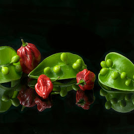 Pee Pod & Chilis by Jim Downey - Food & Drink Ingredients ( red, green, pods, chili peppers, black, peas )