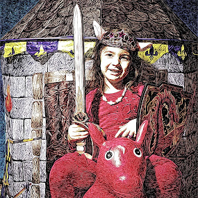 Warrior by Nicu Buculei - Digital Art People ( warrior, girl, kids, sword )